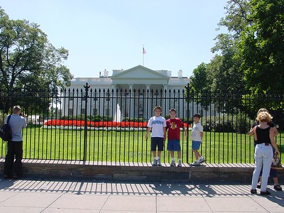 Boys in front of White House