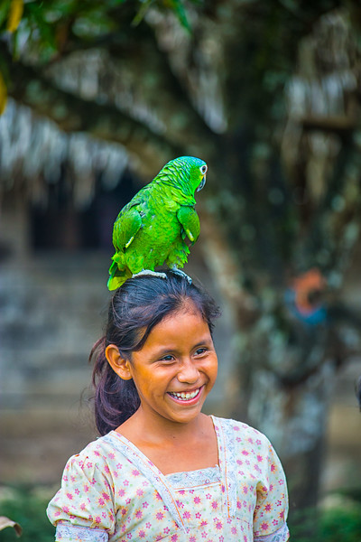 Girl with a parrot