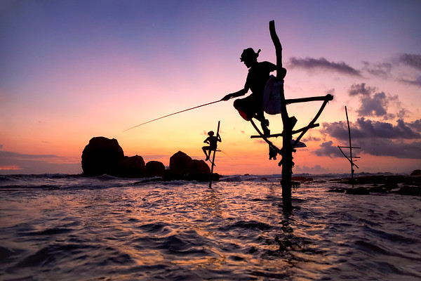Traditional Stick Fisherman of Koggala in Southern Sri Lanka at Sunset