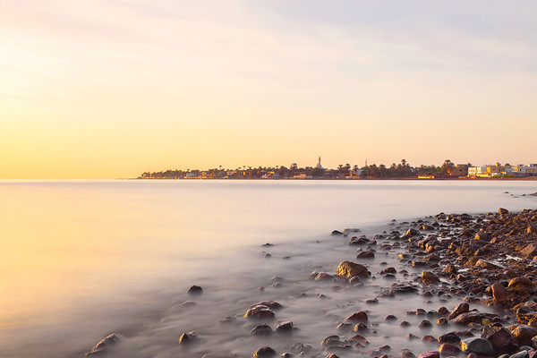 Sunrise and a Calm Sea on the Shores of Dahab in Egypt