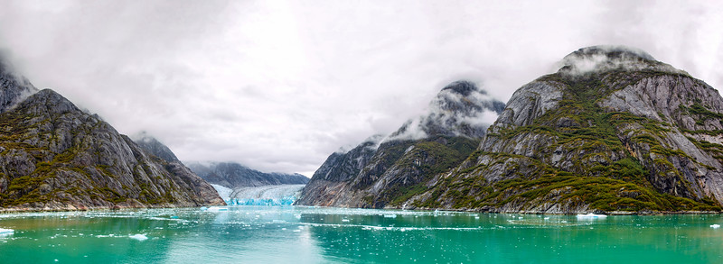 Panorama of the Dawes Glacier in the Endicott Arm Fjord in Alaska