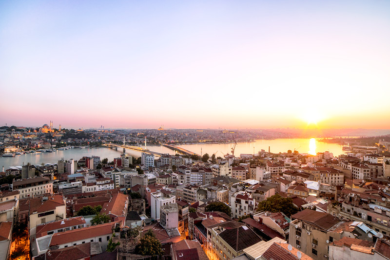 Skyline of Istanbul, Turkey at Sunset During Summer