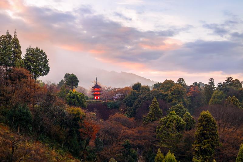 Pagoda Among the Mountains Near Kiyomizu Dera in Kyoto, Japan