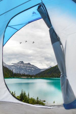 View of Mountains and Lakes from a Tent at Upper Joffre Lake in Canada