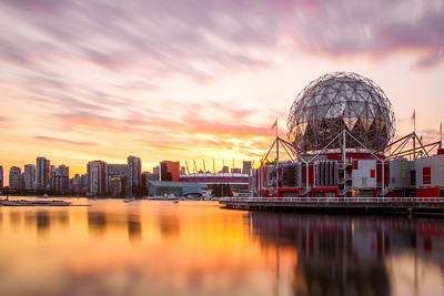 Science World and Downtown Vancouver at Sunset in Summer