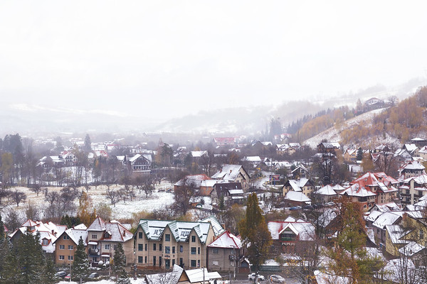 Snow Covered Bran During Winter in Romania