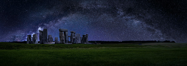 Panorama of Stonehenge Against a Night Sky