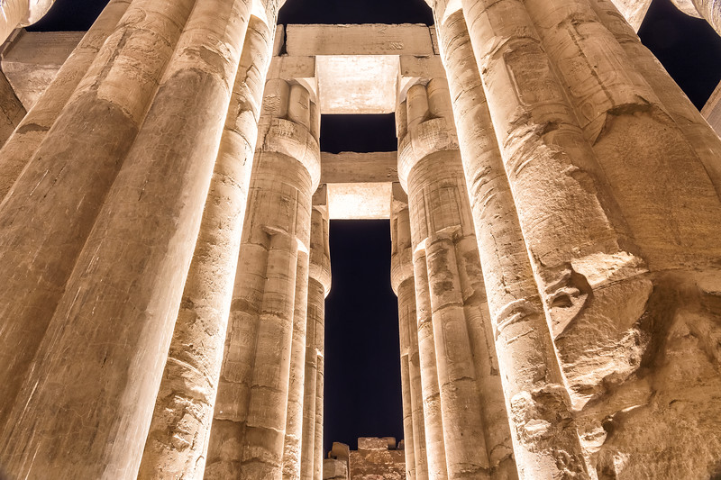 Columns of Luxor Temple Illuminated at Night