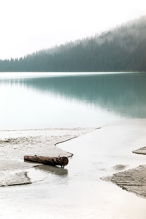 Thick Fog Over Calm Water at Lake Louise in Canada