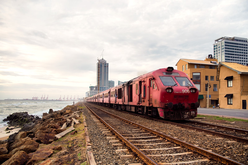 Train on the Shores of Colombo in Sri Lanka