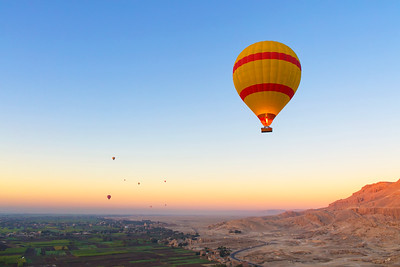 Hot Air Balloon Soaring High Above the River Nile in Egypt