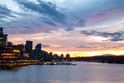Vancouver Skyline and Cityscape at Sunset in Summer