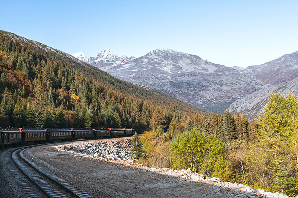 White Pass and Yukon Railway Train Travelling Through a Mountain Pass