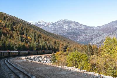 White Pass and Yukon Railway Train Travelling Through a Mountain Pass