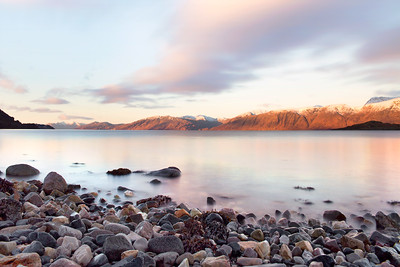 Mountain Peaks Illuminated by the Sunrise at Loch Linnhe