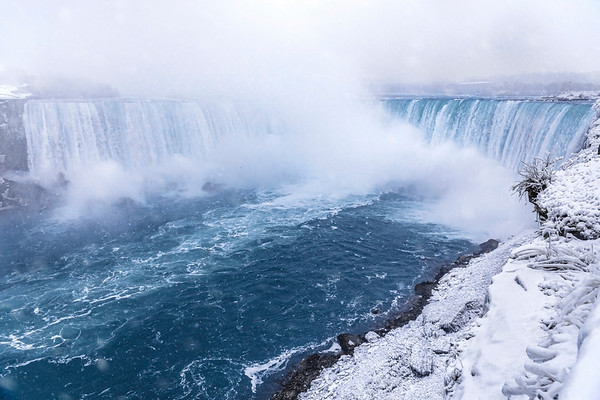 Snow and Ice at Niagara Falls in Winter
