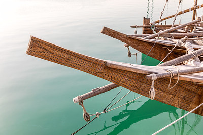 The Bow of Several Dhow Boats in the Harbour of Doha, Qatar