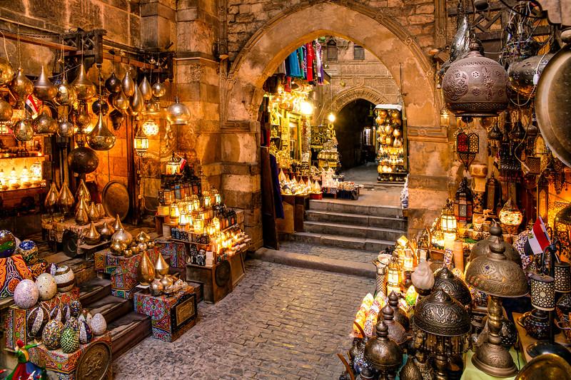 Inside Passageways and Lamp Stalls of Khan El-Khalili in Cairo, Egypt