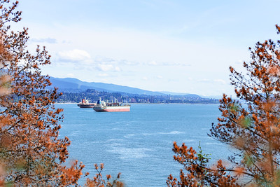 Vancouver Across the Burrard Inlet with Cargo Ships