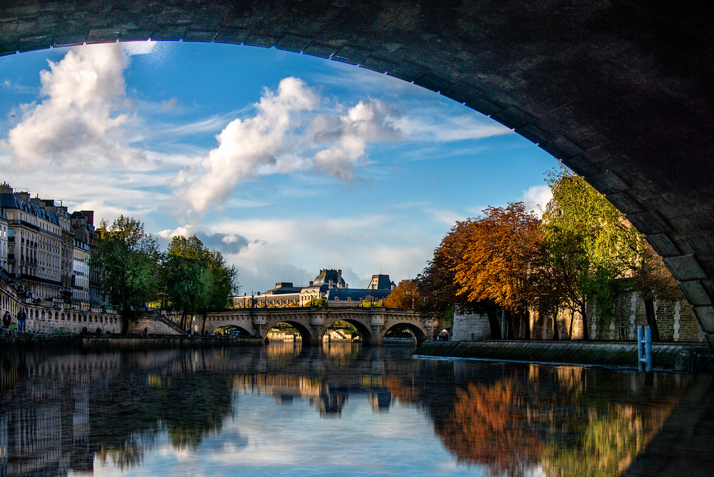 The view of the Pont Neuf Bridge on Paris' Seine River