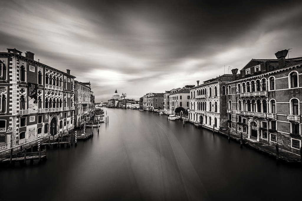 The view down the Grand Canal from the Academia Bridge in Venice, Italy