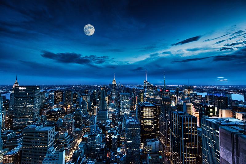 The New York Skyline as seen from the top of Rockefeller Center, New York City, New York