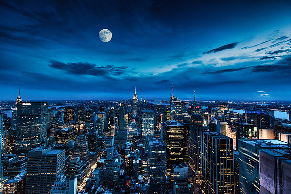 The New York Skyline as seen from the top of Rockefeller Center, New York City, New York