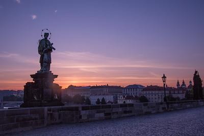 The Charles Street Bridge at Dawn, Prague, Czech Republic
