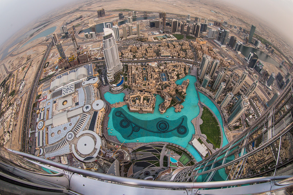Dubai as seen from the Burj Khalifa, the tallest building in the world.