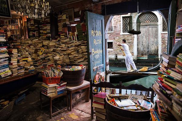 The Acqua Alta Bookshop, Venice, Italy
