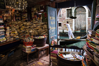 The Acqua Alta Bookshop, Venice, Italy