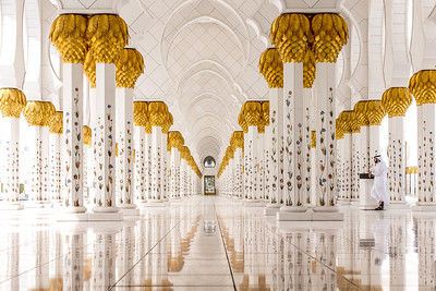 A hallway in Sheikh Zayed Grand Mosque in Abu Dhabi, United Arab Emirates