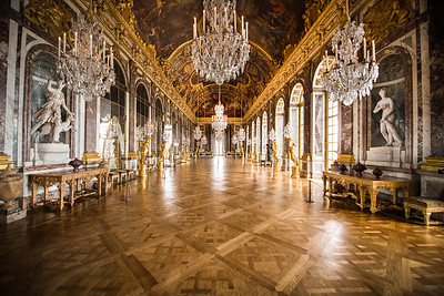The famous Hall of Mirrors, in the Palace of Versailles, Versailles, France
