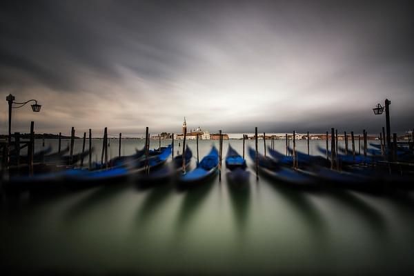 Gondolas lined up at San Macro Square, Venice, Italy