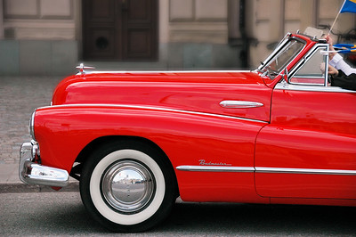 A 1949 Buick Roadmaster on the streets of Stockholm, Sweden on high school graduation day.
