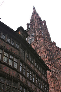 For the next four centuries, due to the height of its tower (142 m), the Strasbourg Cathedral was considered the tallest building in modern world! Furthermore, it was unique because it was one of the few gothic churches equipped with only one tower.  http://www.strasbourg.info/cathedral/