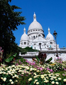 Sacre Coeur located on top of the Montmartre hill.