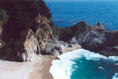 California's only coastal waterfall (McWay Falls, 80ft): Julia Pfeiffer Burns State Park