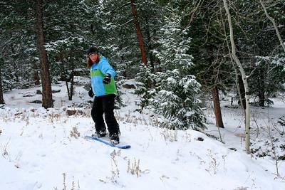 Samantha on her snowboard