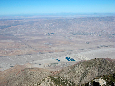 Fields of wind machines in the desert