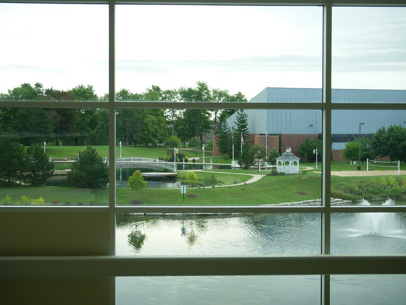 The conference was held on Eastern Michigan University.  Beautiful campus.  This is the view from the student center where we had all of the classes.