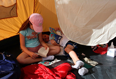 Some reading in the tent