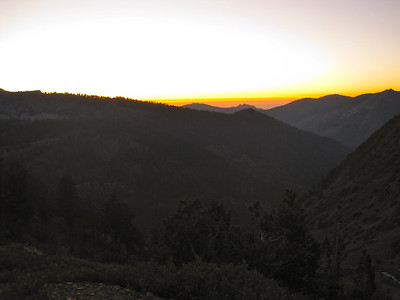 Sunset from the trail, making camp in darkness after a late start.
