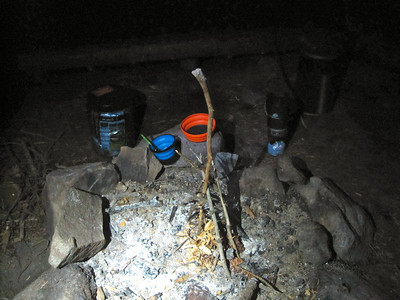"""We climbed, descended, camped lower than we started!  Wood was too wet to burn, so we left this """"sculpture""""."""