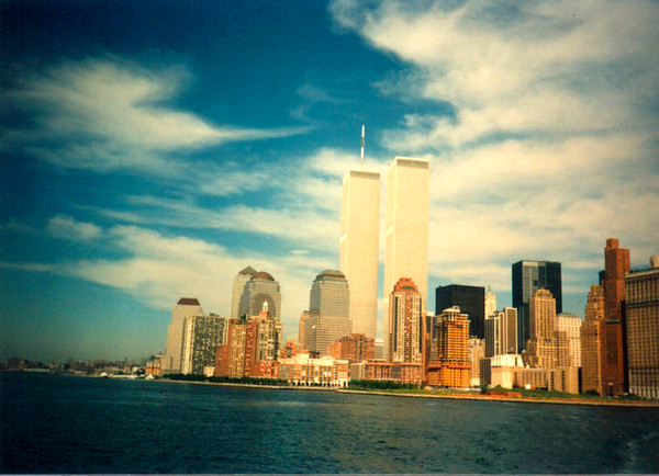 Photo of the twin towers (taken in 1990 from a boat)