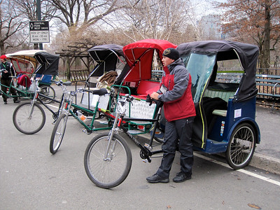 Exploring Central Park by pedicabs: it's COLD today! http://www.centralparktours.net/