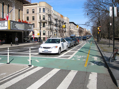Bike lanes around Prospect Park in Brooklyn