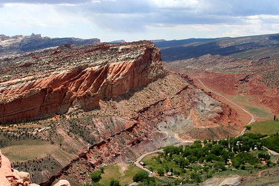 The Waterpocket Fold, a 100-mile long wrinkle in the earth's crust known as a monocline, extends from nearby Thousand Lakes Mountain to the Colorado River (now Lake Powell). View on the campground (Spring 2005)