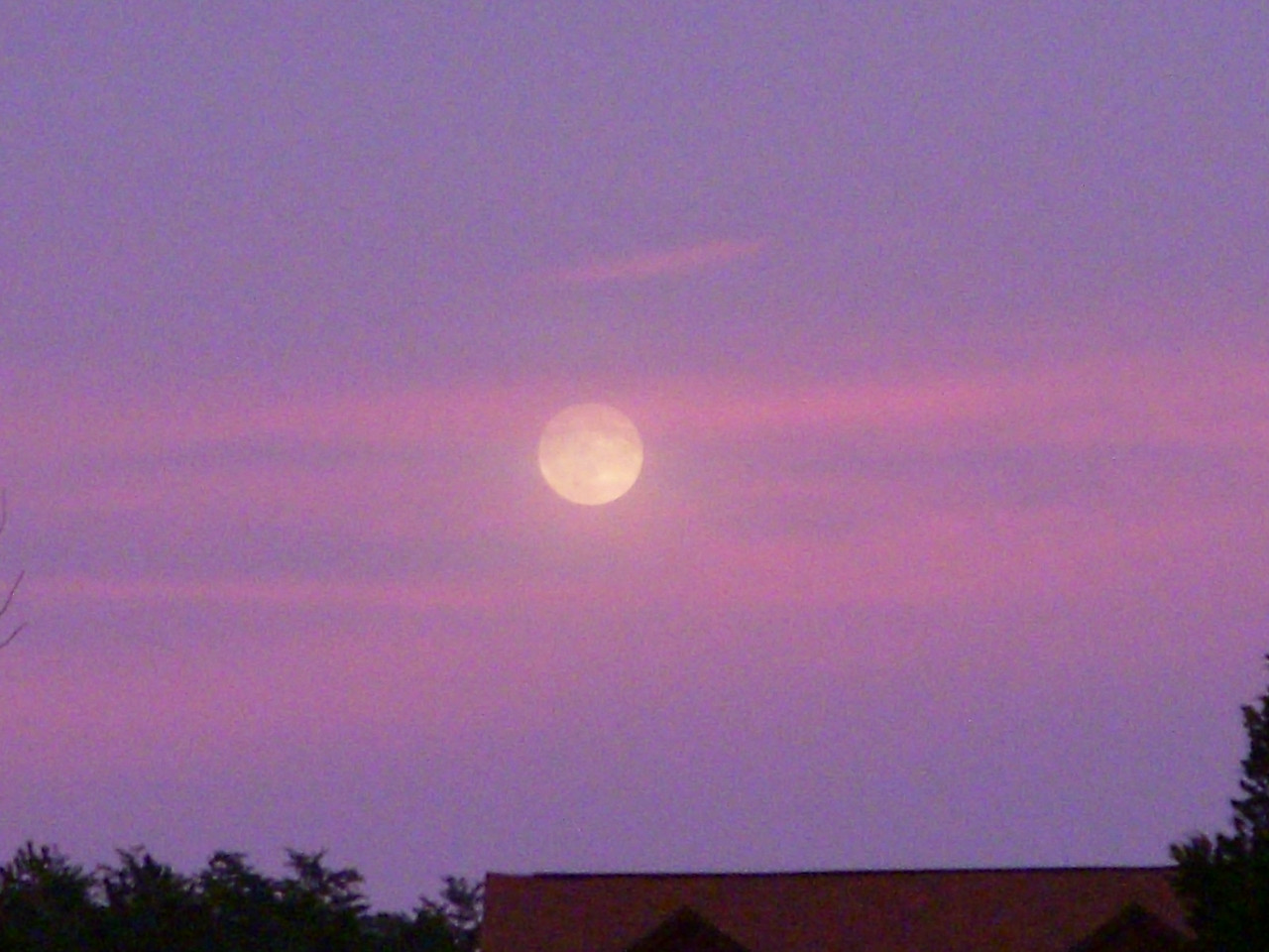 Whoa, look at that moon.  And how often do you see the sky pink/purple.  So I HAD to stop on the roadside to take a couple photos.