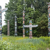 Totem Pole cluster in Stanley Park, Vancouver, B.C., Canada.